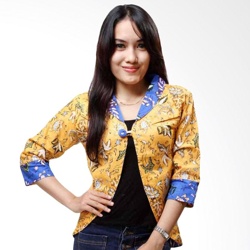 Batik Distro Cardigan Dua Sisi Kuning Biru B9323