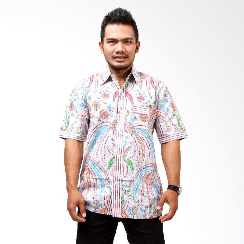 Batik Distro Daun Jari K7232 Merah Kemeja Pria