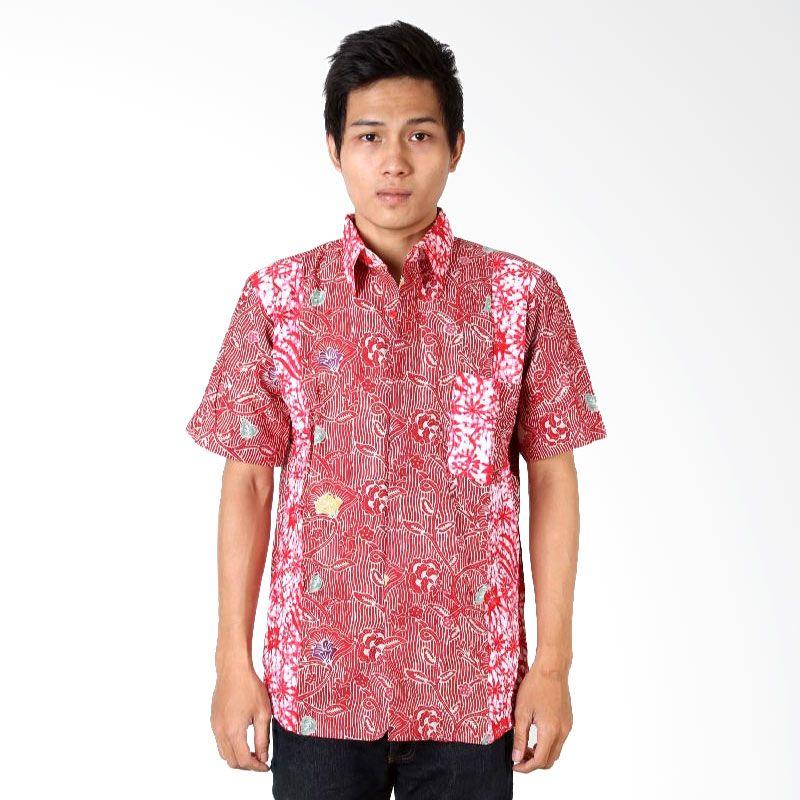 Batik Distro K6855 Merah Kemeja Pria