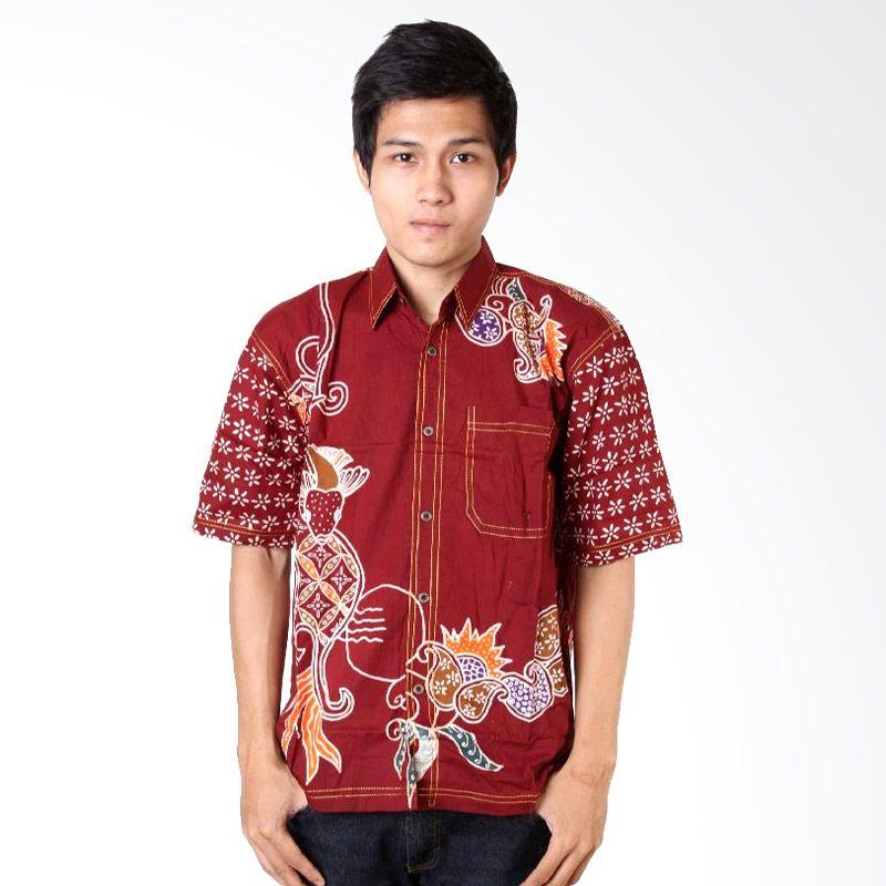 Batik Distro K6925 Merah Kemeja Pria