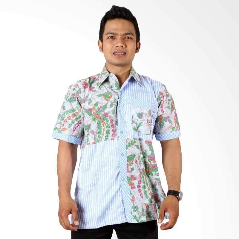 Batik Distro K7076 Biru Kemeja Pria