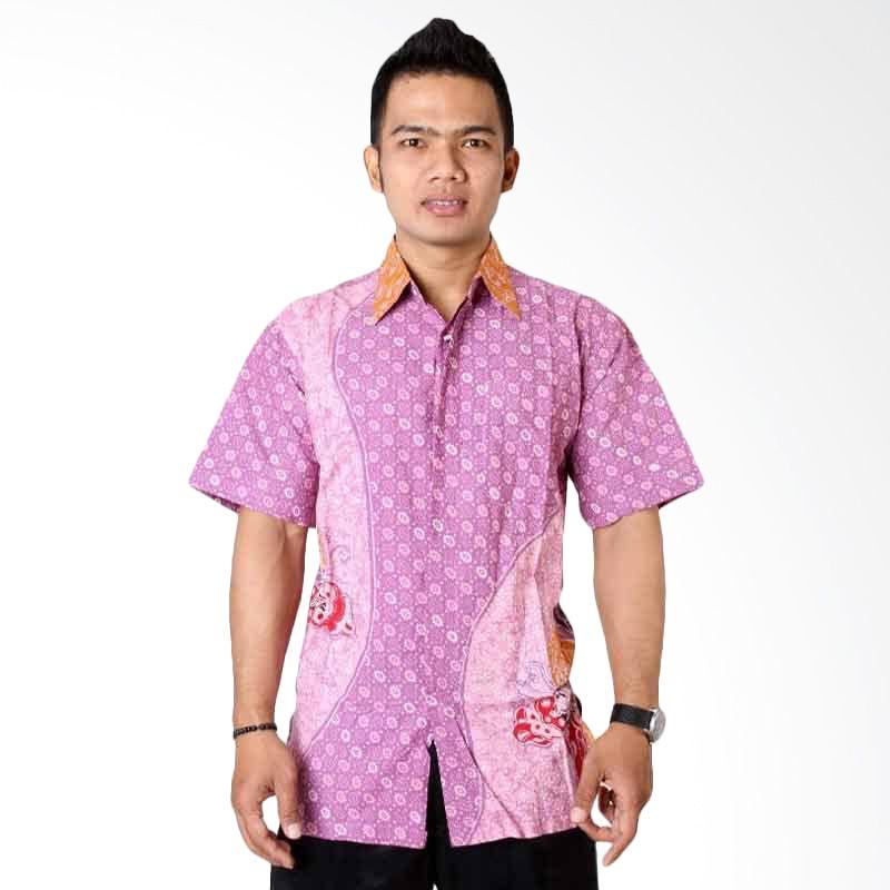 Batik Distro Kemeja Pendek Pola Alir Ungu K6642