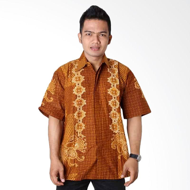 Batik Distro Kemeja Pendek Pola Rompi Coklat K6537
