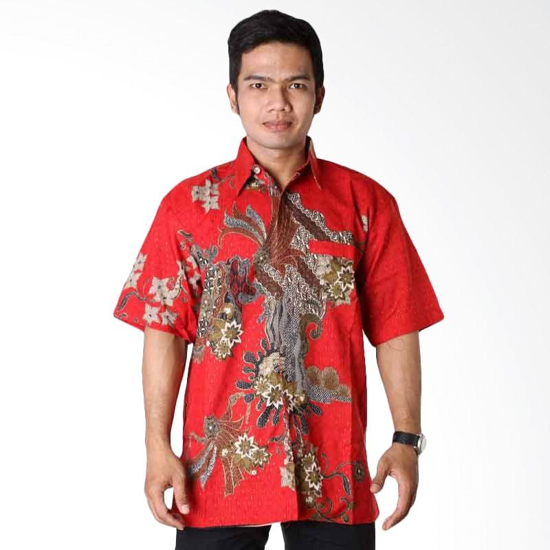 Batik Distro Kemeja Pendek Sunwash Merah K6474