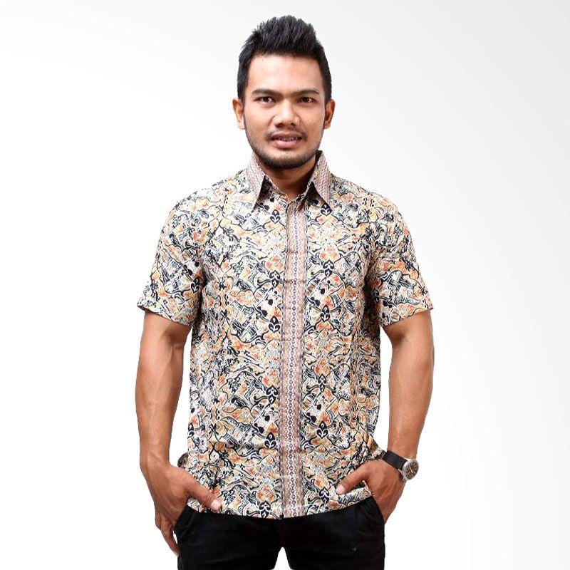 Batik Distro Motif K7235 Orange Kemeja Pria