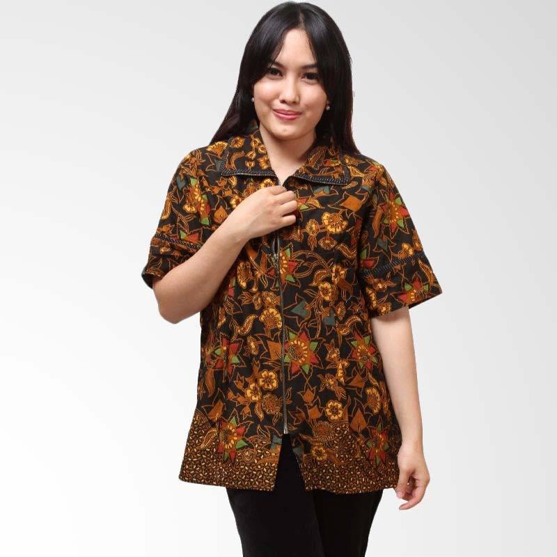 Batik Distro Resleting Cap BA3423 Coklat Atasan Wanita