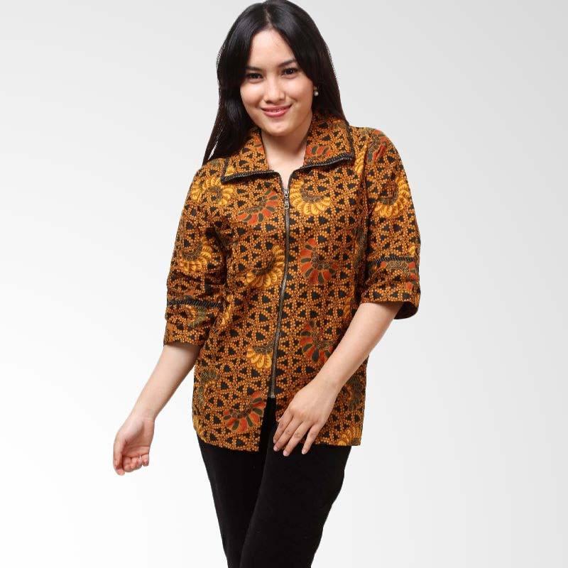 Batik Distro Resleting Cap BA3424 Coklat Atasan Wanita