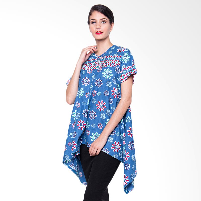 Batik Etniq Craft Blouse A Flower Atasan Wanita - Blue