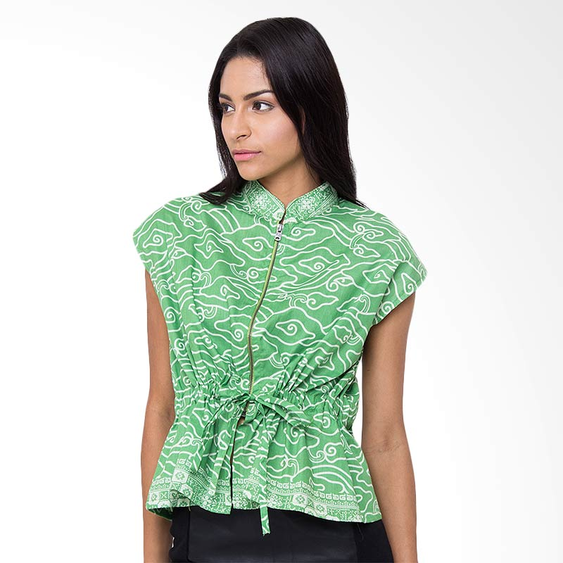Batik Etniq Craft Blouse Zipper Atasan Wanita - Green