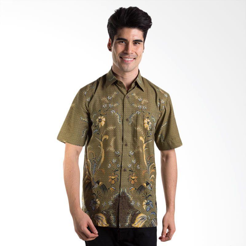 Batik Heritage Katun Rangkai Bunga Hijau Batik Pria