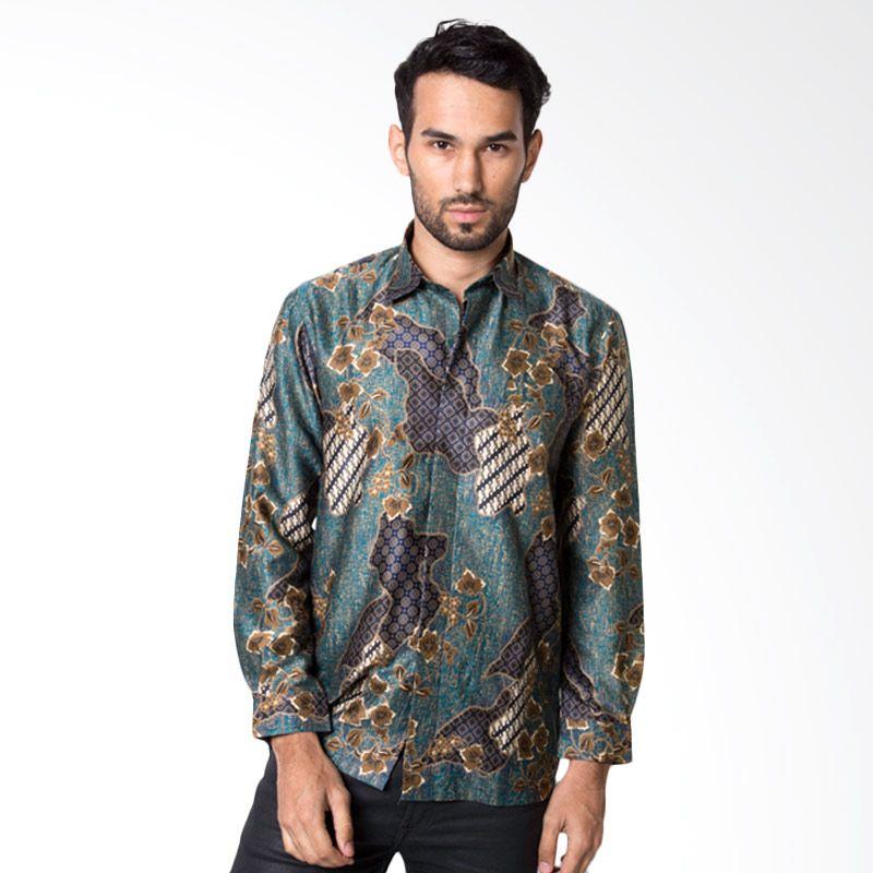 Jual Batik Heritage Royal Peach Bunga Hijau Baju Batik Pria Online