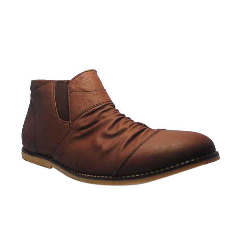Kamis Ganteng - D-Island High Wrinkle Leather Dark Brown Slip On Shoes Sepatu Pria