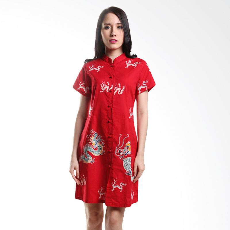 Batik Pelangiku Chang Red Dress Batik