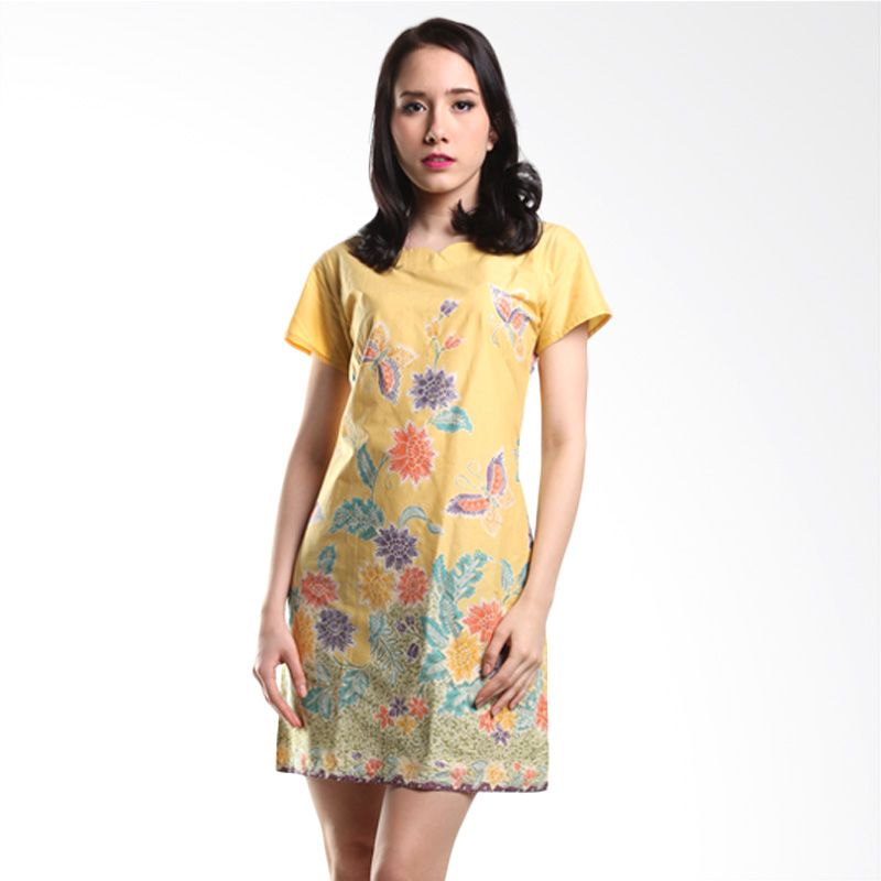 Batik Pelangiku Tiffany Yellow Dress Batik