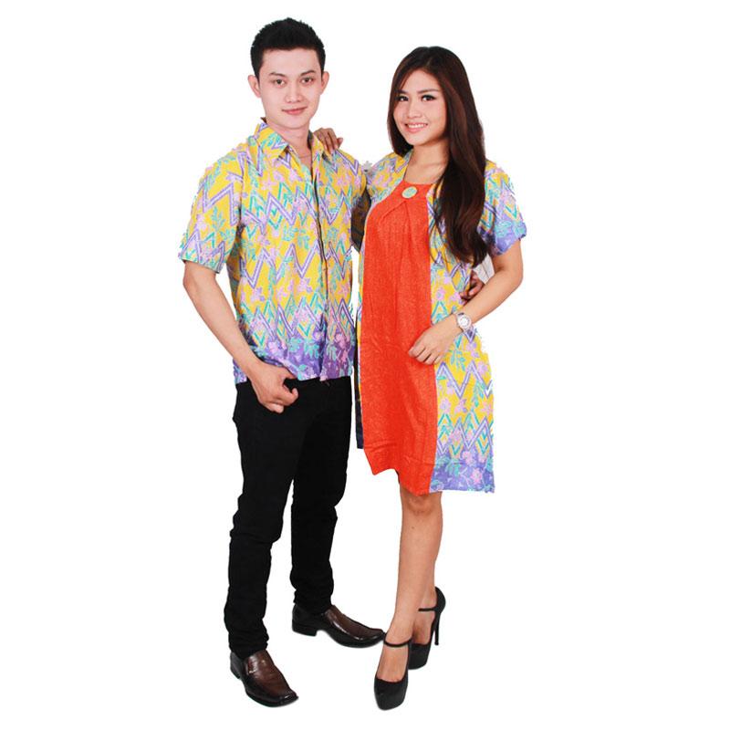 harga Batik Putri Ayu Solo Batik Sarimbit Dress SRD33 Baju Batik Couple - Orange Blibli.com