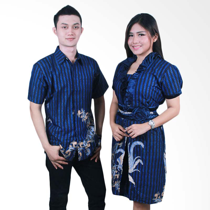 harga Batik Putri Ayu Solo Batik Sarimbit Dress SRD36 Baju Batik Couple - Biru Blibli.com
