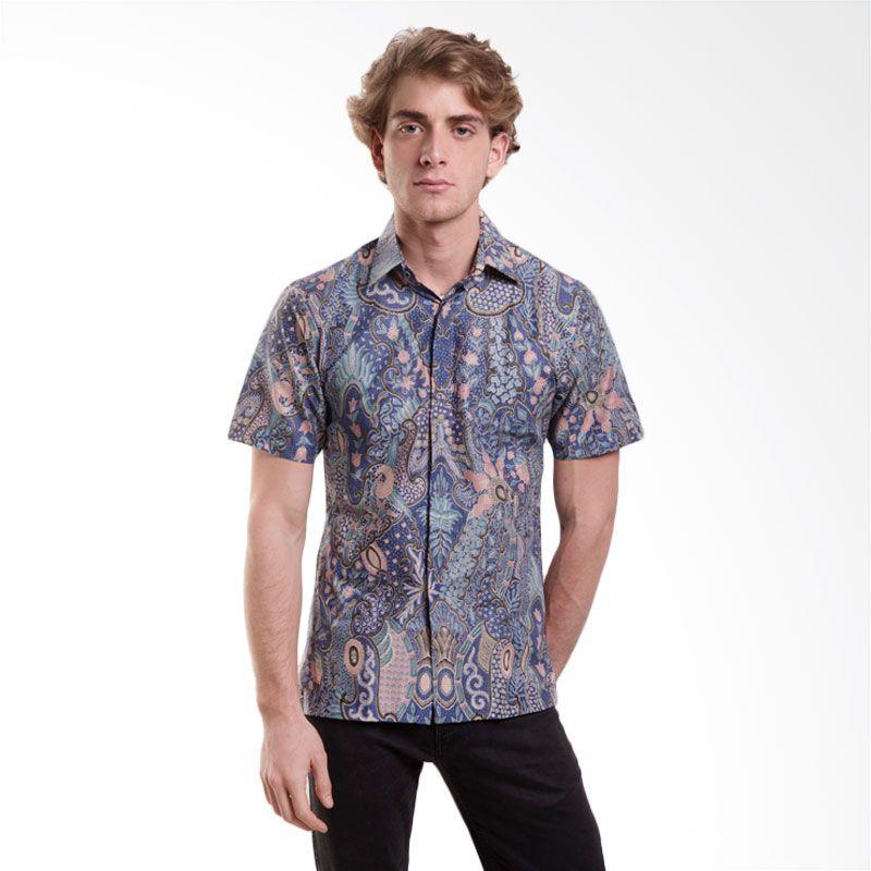 Batik Semar CTN Silk Enggal Warni 40 Biru Kemeja Batik Pria