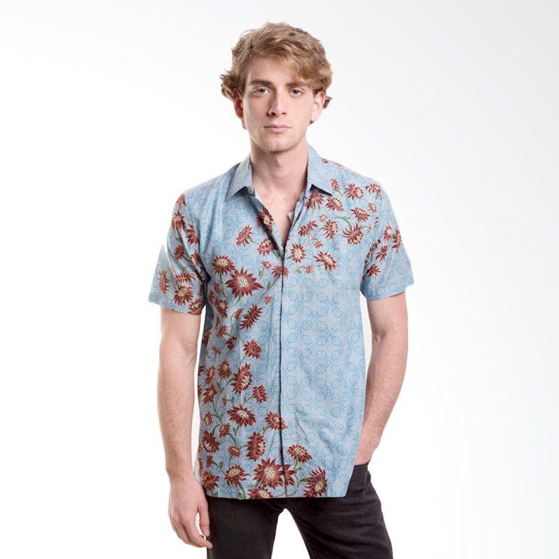 Batik Semar PI Mekar Sari 2.40 Biru Kemeja Batik Pria