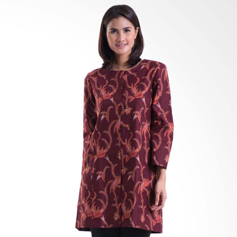 Batik Solo Long Sleeve Cotton Tunic LA066B (P4)2 Blouse - Maroon