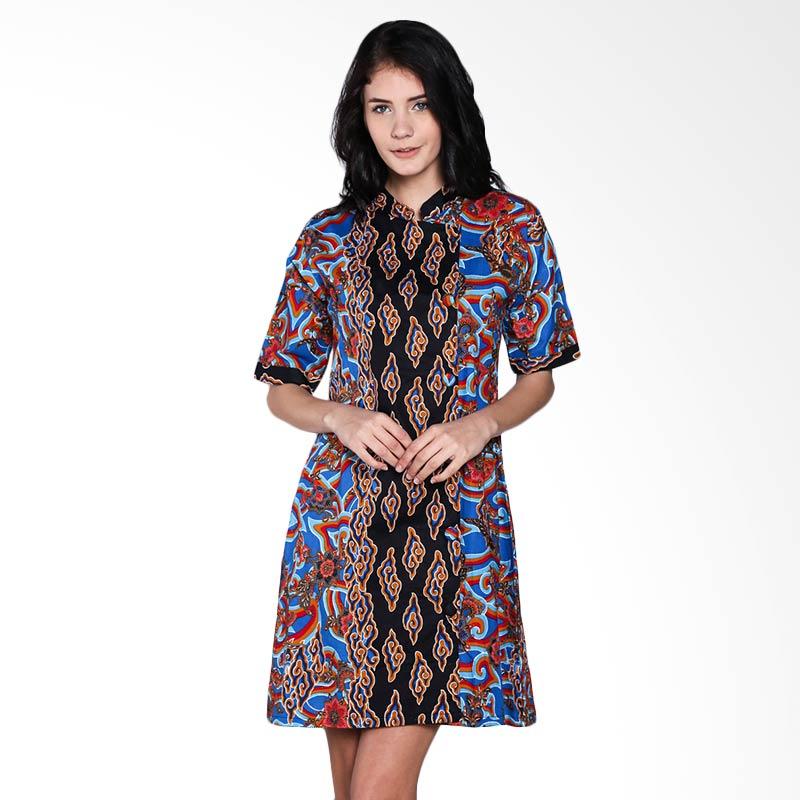 harga Batik Trusmi Dres Katun Motif Megamendung Printing DA OL Dress Wanita - Blue Blibli.com