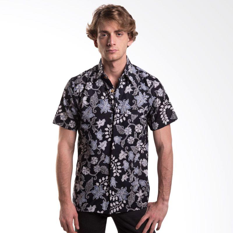 Batik Trusmi Hem Katun Motif Bunga Kapas Hitam Baju Batik Pria
