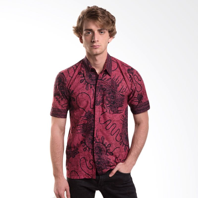 Batik Trusmi Hem Katun Motif Keong Merah Baju Batik Pria