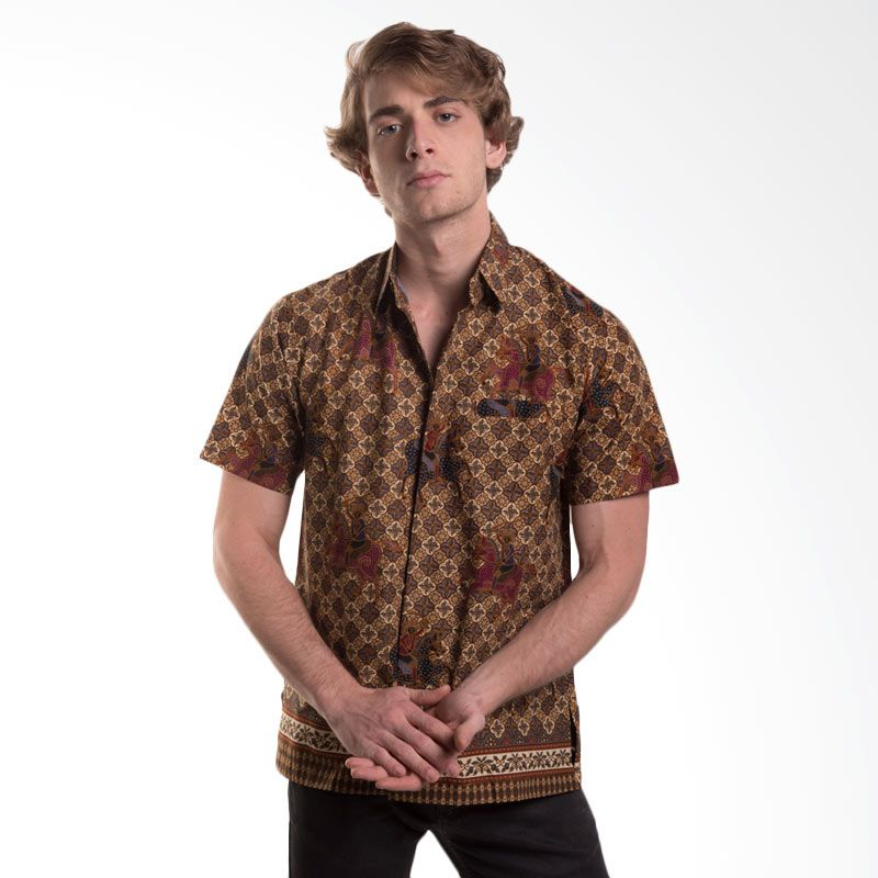 Batik Trusmi Hem Katun Motif Kuda Coklat Baju Batik Pria