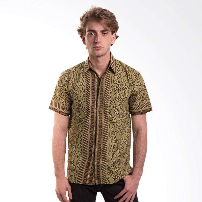Batik Trusmi Hem Katun Motif Mega mendung Hijau Baju Batik Pria