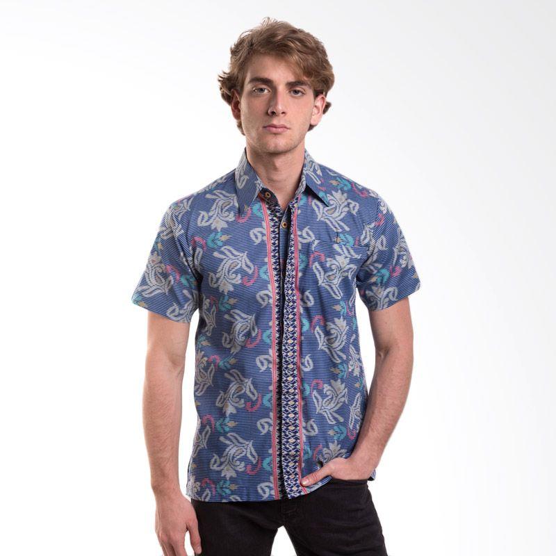 Batik Trusmi Hem Katun Motif Songket Biru Baju Batik Pria