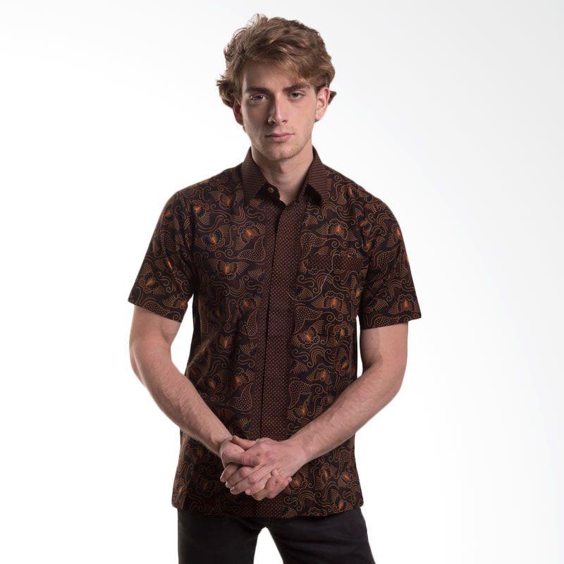 Batik Trusmi Hem Katun Tulis Motif Kupu Coklat Baju Batik Pria