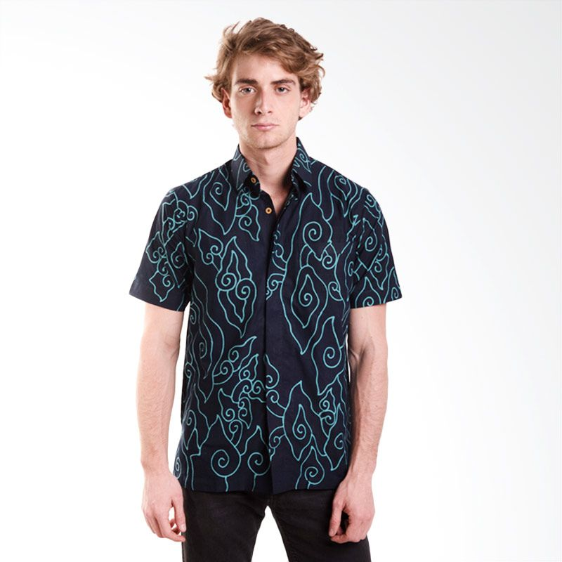 Batik Trusmi Hem Katun Tulis Motif Mega mendung Tosca Baju Batik Pria