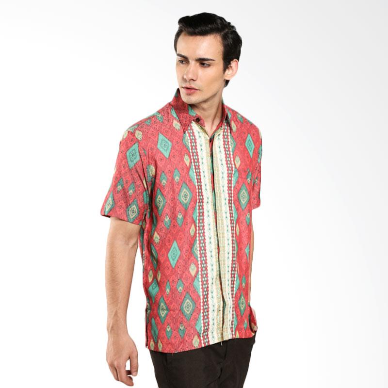 harga Batik Waskito Short Sleeve Baron Silk Shirt HB 8366 Red Kemeja Batik Pria Blibli.com