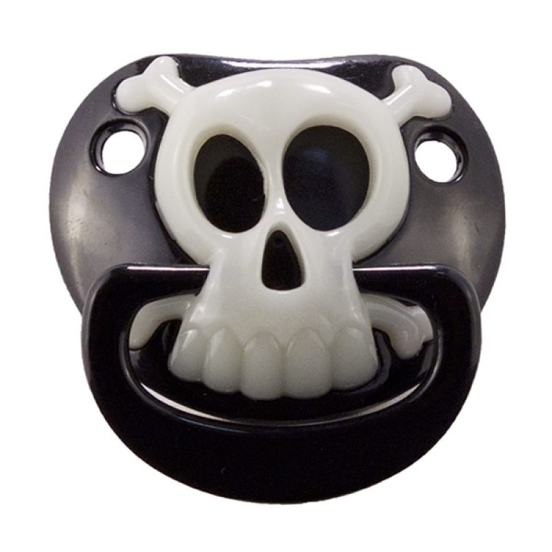 BillyBob Black Pirate Skull Pacifier
