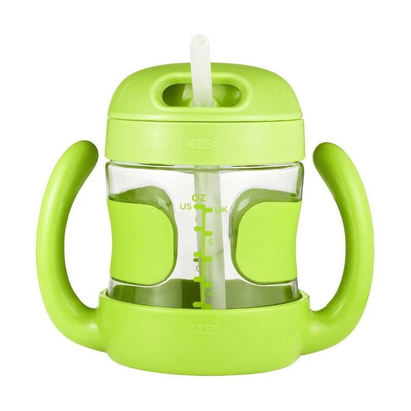 OXO Tot Straw Cup with Handles Hijau Botol Minum [7oz]