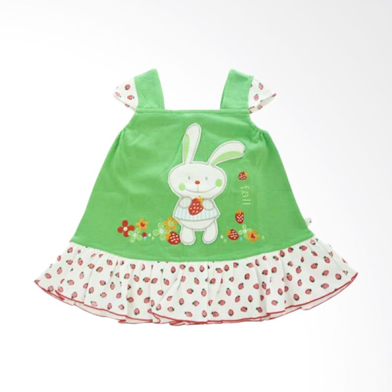 Tatami Rabbit Strawberry Hijau Dress Bayi