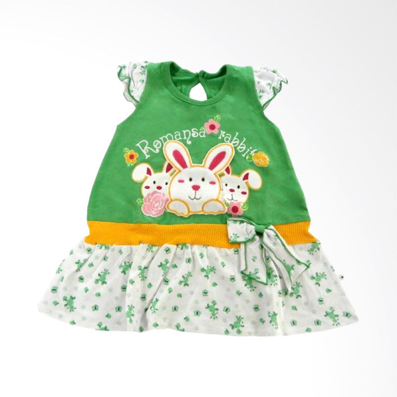 Tatami Romansa Rabbit A Line Hijau Dress Anak