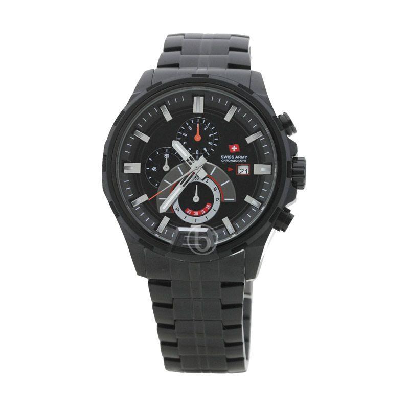 Swiss Army SA 1164 G Rantai Black Stainless (Ipb2) Stopwatch Chronograph Dial Hitam Jam Tangan Pria