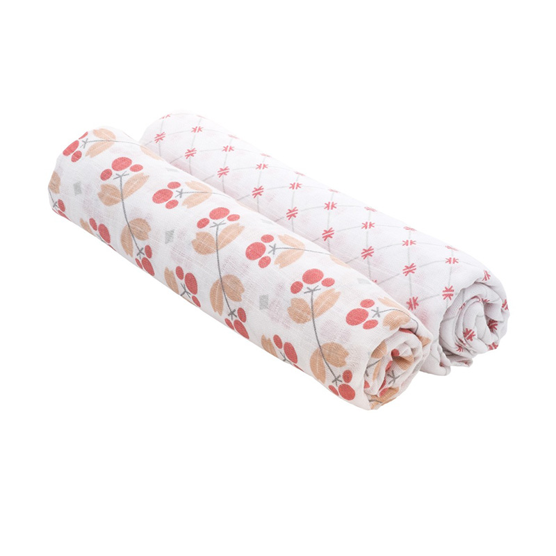 Bebe Au Lait Premium Muslin Swaddle Blanket Dewberry + Latice