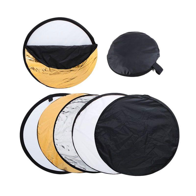 Portabel Reflektor 5 in 1 Bulat Aksesoris Kamera [60 cm]