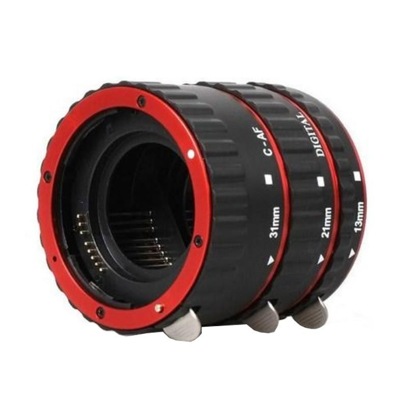 Third Party Aluminium Mount Auto Focus AF Red Macro Extension Tube for Canon EF-S