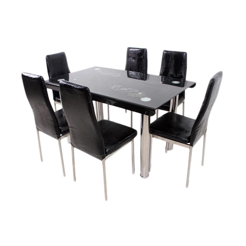 Best Furniture Meja Makan 4523 Dining Set - Hitam