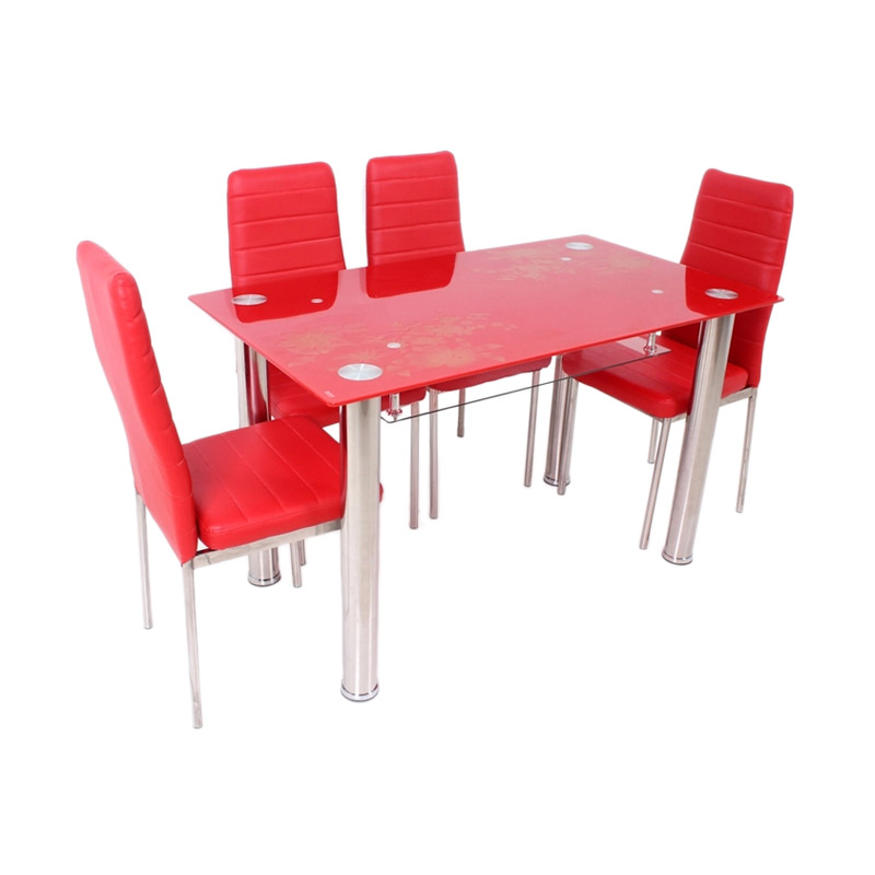 Best Furniture Meja Makan 4559 Dining Set - Merah
