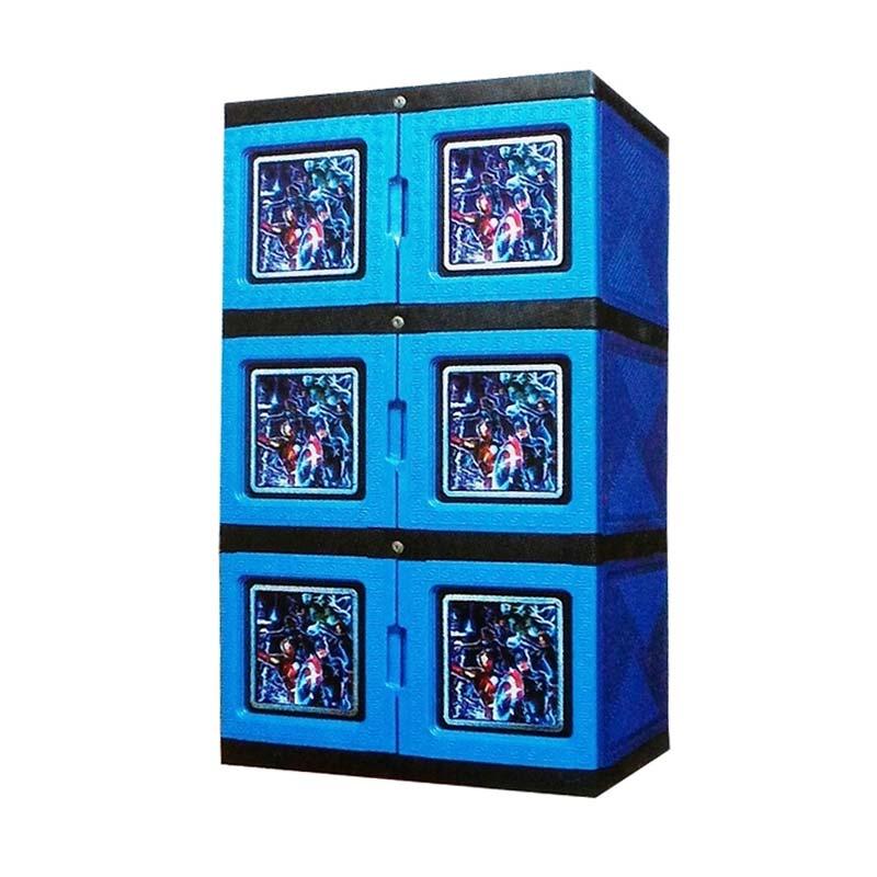 Best Furniture Serbaguna Plastik Dilengkapi Kunci - Biru Lemari Pakaian [3 Susun]