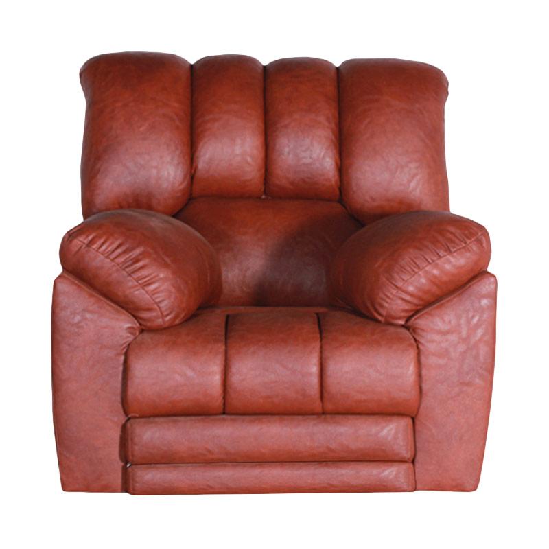Best Furniture Wellington's Livina Recliner 1 Dudukan Brown Red Sofa Santai