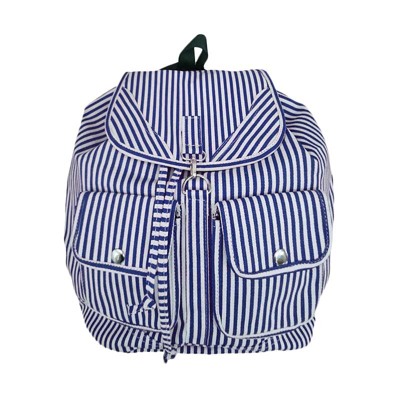 Bag & Stuff Korea Canvas Salur Backpack - Biru Donker