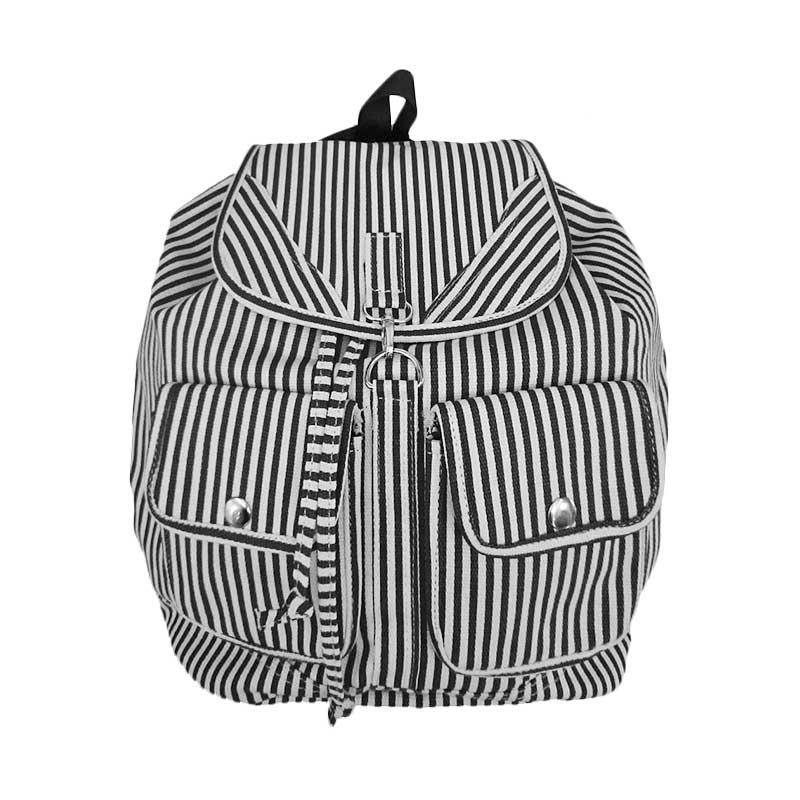 Bag & Stuff Korea Canvas Salur Backpack - Hitam