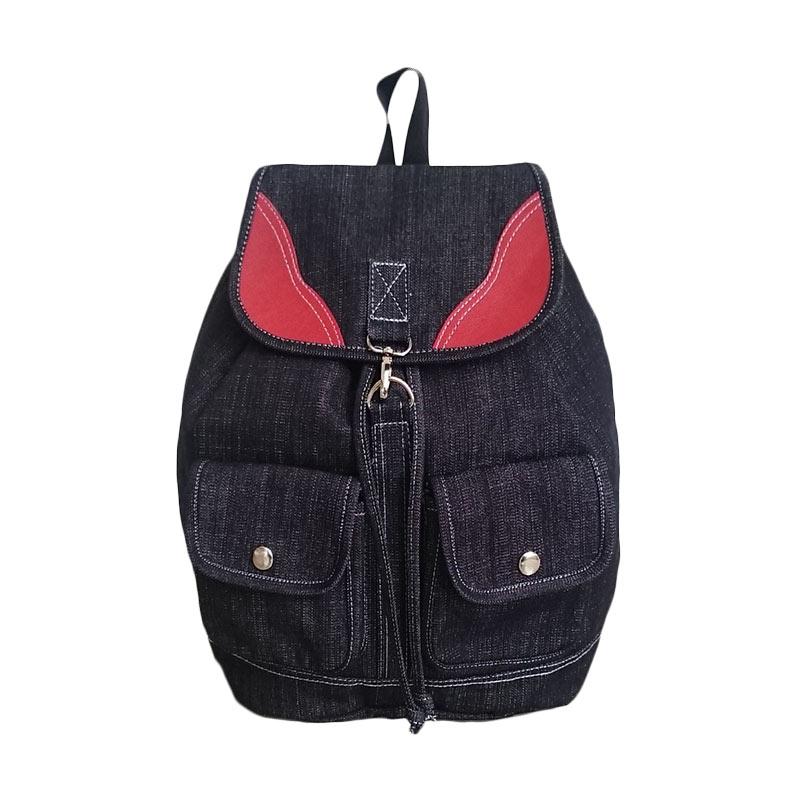 Bag & Stuff Korea Redwing Jeans Denim Backpack - Navy Red
