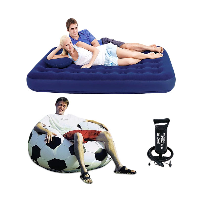 harga Bestway Kasur Angin Double - Biru with Sofa Bola Soccer and Pompa Angin 12 Blibli.com