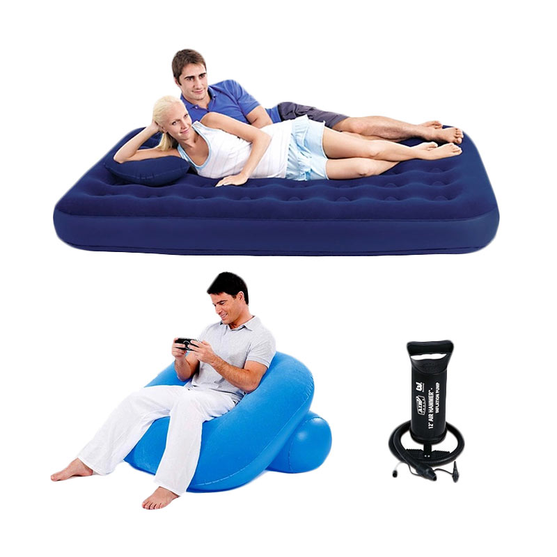 Bestway Kasur Double - Biru with Sofa Angin Nestair and Pompa Angin