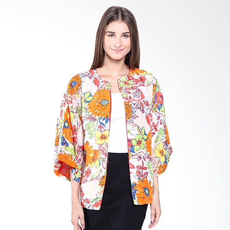Beyounique Flowery Orange Flower Print SM15 314 OR Kimono Blazer